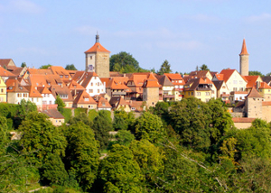German village with traditional red tiled roofs