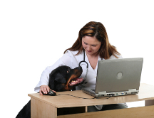 Veterinarian with Rottweiler dog